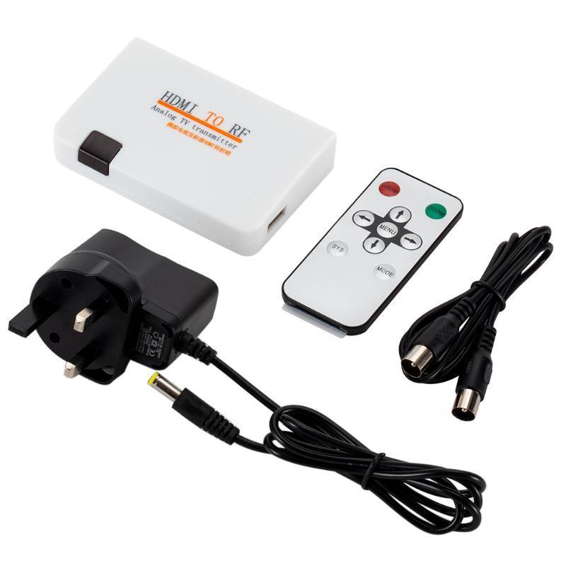 RF 동축 변환기 BOX 아날로그 TV 송신기 HDTV 모니터 프로젝터 멀티미디어를위한 멀티미디어를 가르치는 오디오 케이블 Con Conn