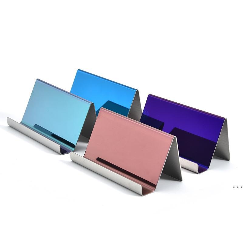 4 ألوان الراقية الفولاذ المقاوم للصدأ اسم بطاقة الأعمال حامل عرض موقف الرف سطح المكتب الجدول المنظم HWF6223