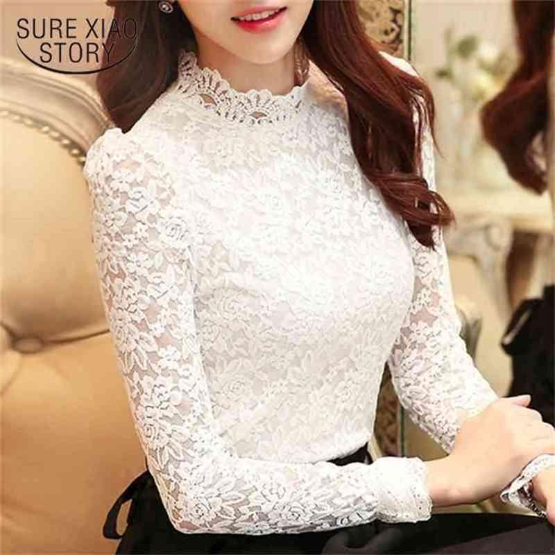 Blusas Plus Size Tops Fashion Woman Blouses Long Sleeve Casual Women Shirts White Lace Blouse Hollow Solid Lady Shirt 1695 210415