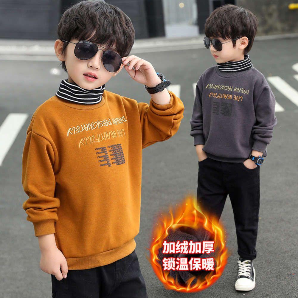 Sweats à capuche Sweatshirts Poiserie physique Moyenne d'hiver pour garçons Peluche Zhongda Children's coréens coréens de base de la base épaissie Top T-shirt chaud