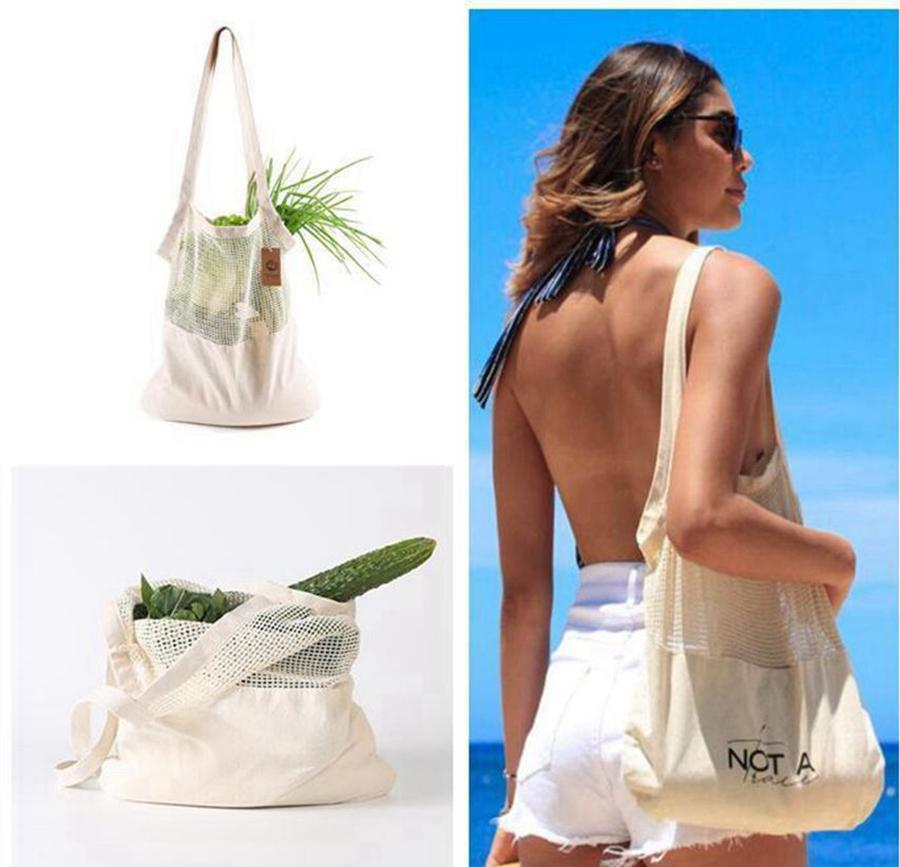 Portable Storage Bag Reusable Grocery Bag Large Size Net Shopping Bags Shopper Tote Bags Cotton Mesh Bags Home Organization Q161
