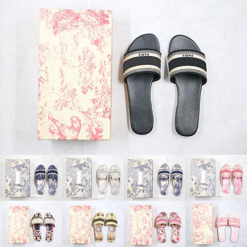[Con caja] Diseñador preferencial París Mujer Zapatillas de moda Playa Fondo Grueso Plataforma de lujo Plataforma Alfabeto Lady Sandals Cuero High Tacón grande