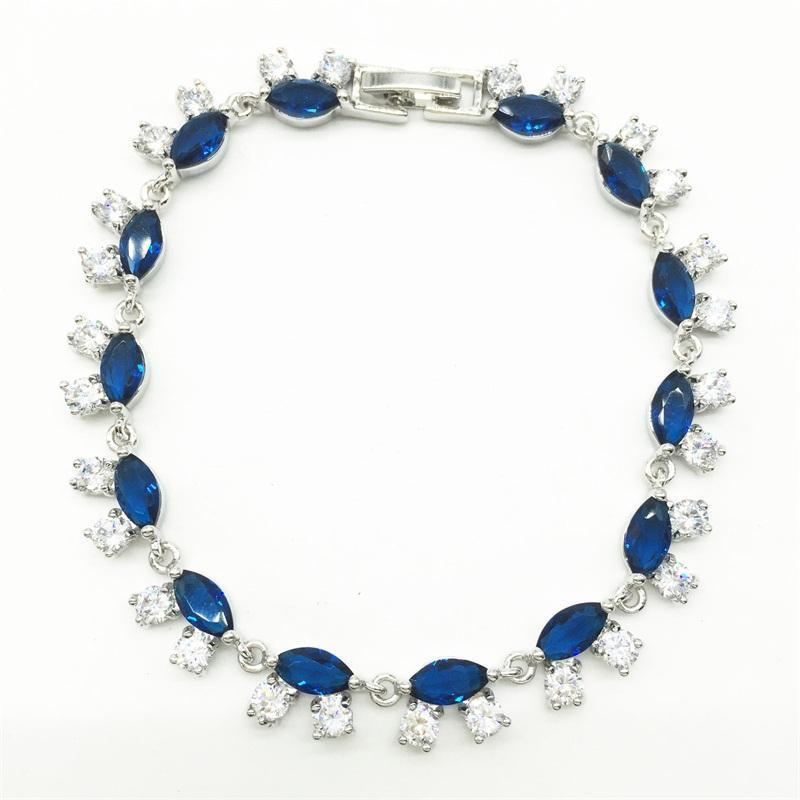 Gentile gioielli Moda UE Stile Bianco Placcato Blu Crystal Stone Bracelets Braccialetti Bangles Luxury Romantic Regalo di nozze Regalo, Catena