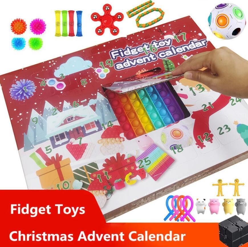 Fidget leksaker 24 dagar jul advent kalender pack anti stress leksaker kit stress relief figur leksak blind box barn julklapp ft20