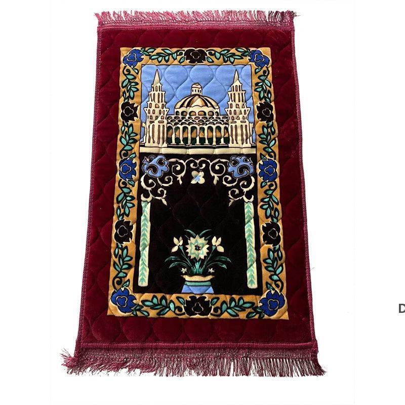 Addensare Cashmere Preghiera Musulmani Tappeti High-End Chenille Adorazione Tappeto 110 * 70 cm Islam Musallah Tappeti Arab Arab Anti-Slip Mat Ship Sea HWE6356