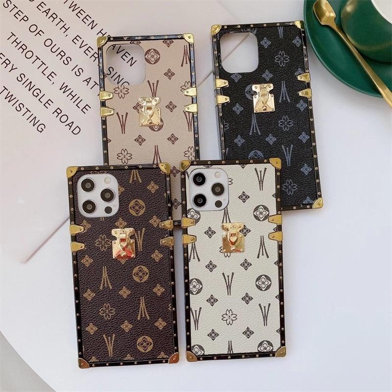 Mode-Quadrat-Leder-Telefonkasten für iPhone 12mini 11 pro xs max xr 7 8 plus se luxus geometrische abdeckung großhandel dhl