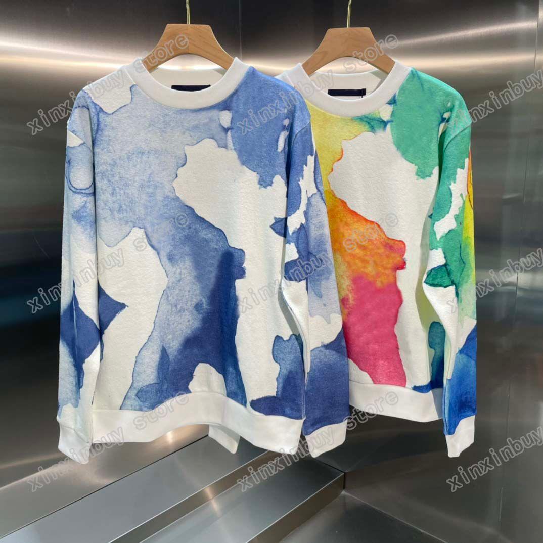 21ss رجل المرأة مصمم سوياتشيرتس هوديس متعدد الألوان المائية طباعة عارضة جودة عالية أزياء الرجال البرية أعلى الأزرق القهوة اللون