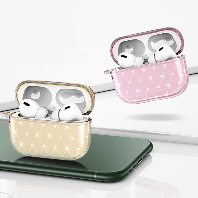 Temiz Tasarımcı Airpods Kılıfları Kablosuz Kulaklık Accessorie Yumuşak TPU Bling Rhinestone Kapak Airpods Pro Için Pro Olgu Airpod Pro Kılıf