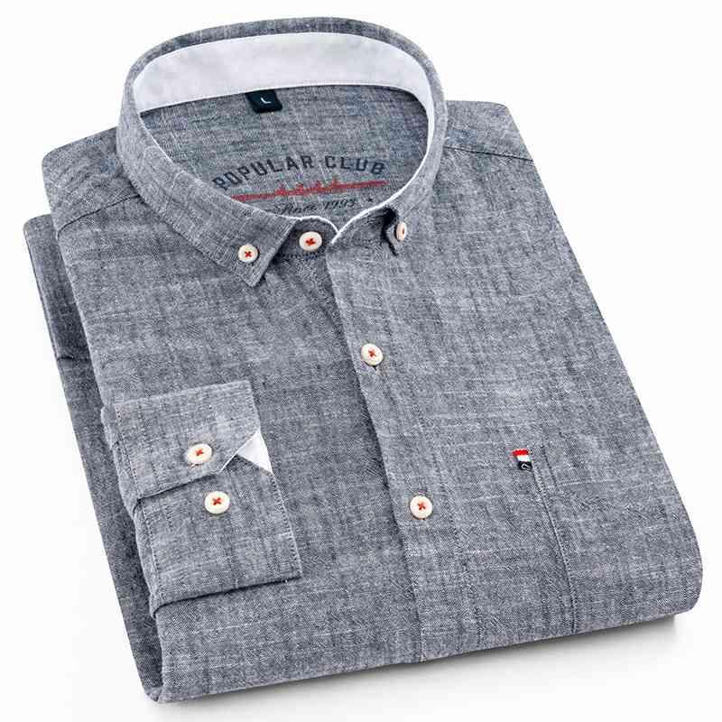 셔츠 남성용 코튼 린넨 순수한 색상 캐주얼 워시 안티 링클 슬림 셔츠