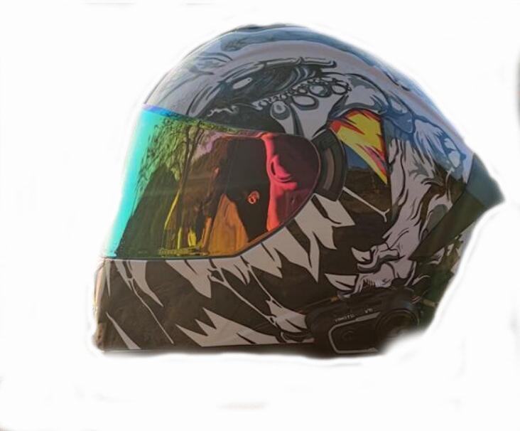 Casco da moto Uomo Inverno Pieno coperto a doppio specchio Personalizzazione Quattro stagioni di sicurezza Grigio