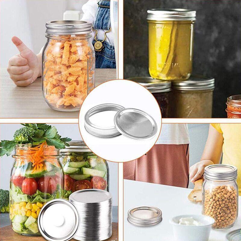 Teneke Mason Kavanoz Kapakları Kullanımlık 70 / 86mm Düzenli Geniş Ağız Sızdırmaz Mühür Gümüş Konserve Kapak Mutfak Malzemeleri