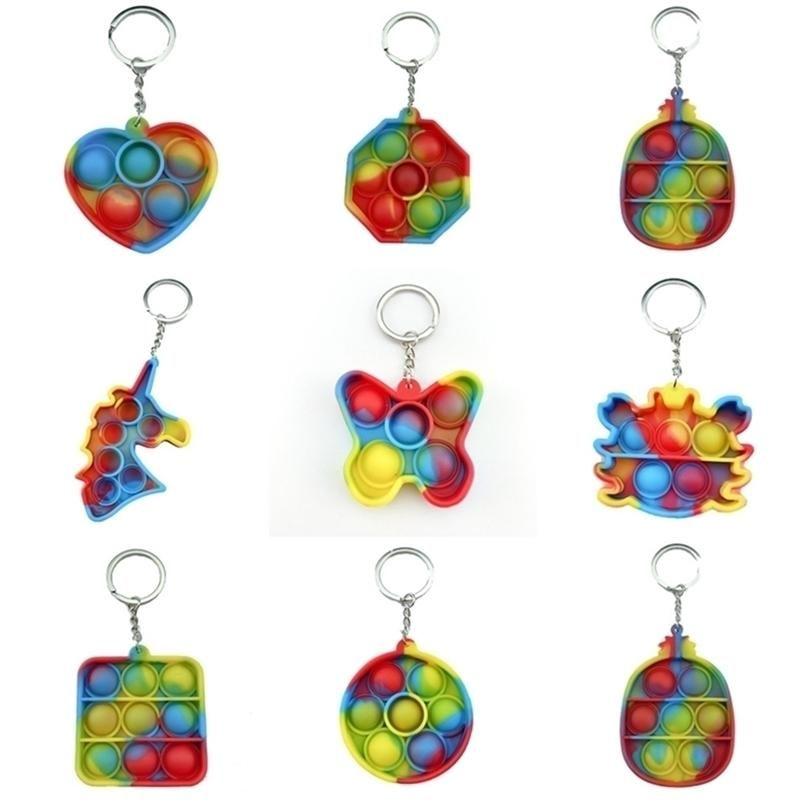 넥타이 염료 감각 바이켓 장난감 간단한 딤플 키 링 푸시 버블 나비 게 나비 게 니케이프 파인애플 보드 fingertip 버블 퍼즐 손가락 재미