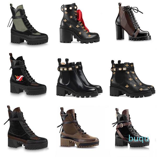 Tasarımcı-Kadın Çizmeler Platformu Martin Çöl Boot Flamingos Deri Madalya Kaba kaymaz Kış Ayakkabı