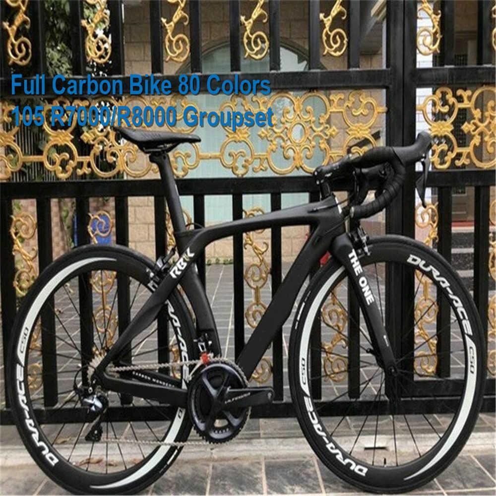 80 Renkler Siyah RB1K Groupset ile Bir Mat Karbon Yol Komple Bisiklet 50mm C50 Wheelset