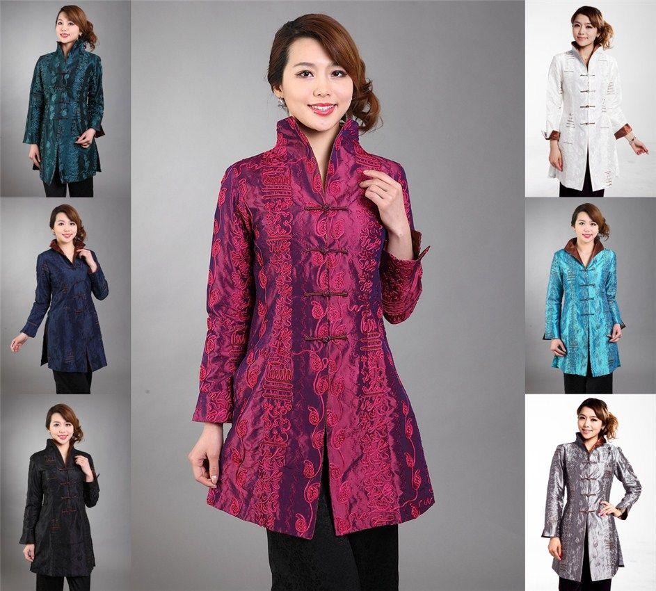الجملة- حار الوردي الصينية المرأة الحرير الحرير التطريز سترة طويلة معطف الزهور حجم s m l xl xxl xxxl