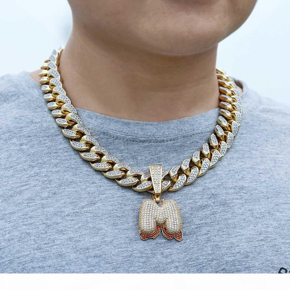 Iced Out Man Pendant Hip Hop gold chain for man Jewelry mens necklace Accessories copper fashion no Guban chain High grade Zircon jewelry