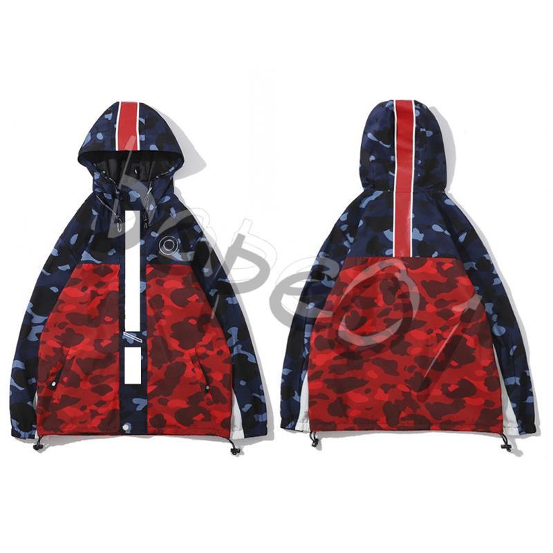 Bape Нового прибытия Мужской Стилист куртка толстовка с капюшоном Нового пальто шанца Mens Стилист Камуфляж печатью пальто размером M-2XL