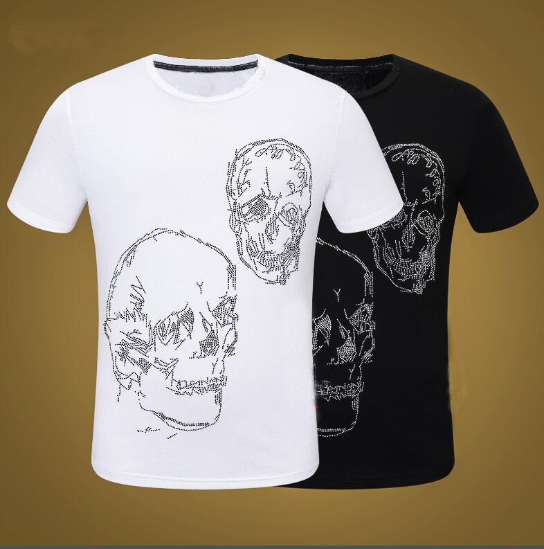 Мода Скелетные Мужчины Футболка Паста Средства Свернуть Футболки Экипаж Футболки Человек Топ Tees Ganbu - Черный / белый