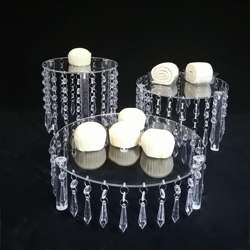 Casamento Acrílico Cristal Bolo Stand Display Round Tither Decoração Prateleira Estante Outro Bakeware