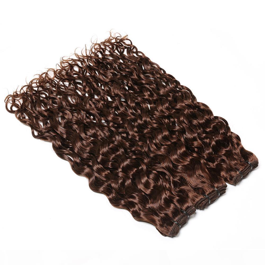 Chocolate Brown Indian Human Hair Weave Bundles Wet and Wavy Double Wefts 3 Bundles #4 Dark Brown Water Wave Human Hair Extensions 10-30&quo