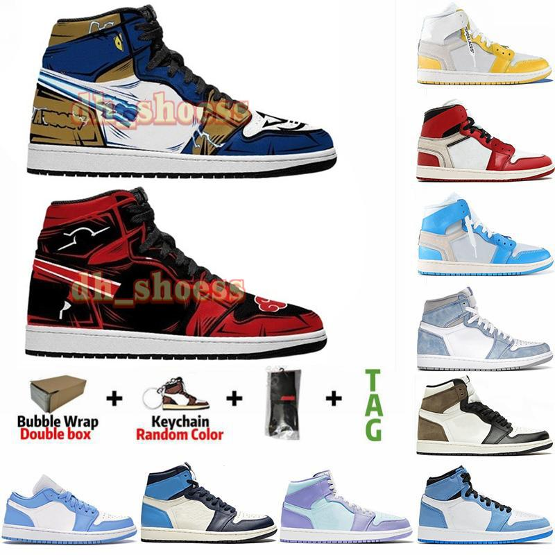 Anime Custom Designers Shoes Jumpman 1 1S Universidad Azul Hyper Royal Travis Scotts Unc Twist Obsidian Mens Mujeres Deportes Zapatillas de deporte Alta Calidad