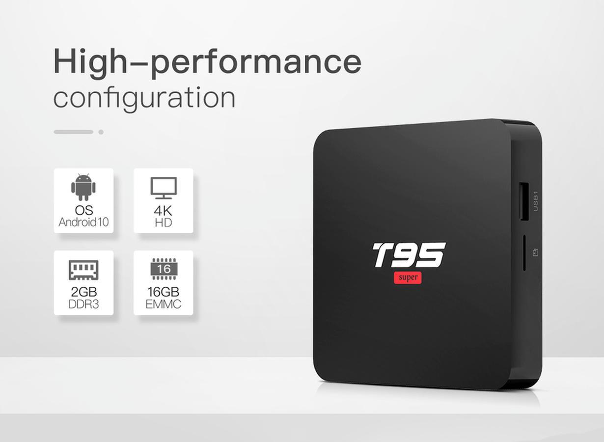 T95super TV BOX Allwinner H3 Quad-Core 2+16GB Android 10.0 HD network smart set-top For Television