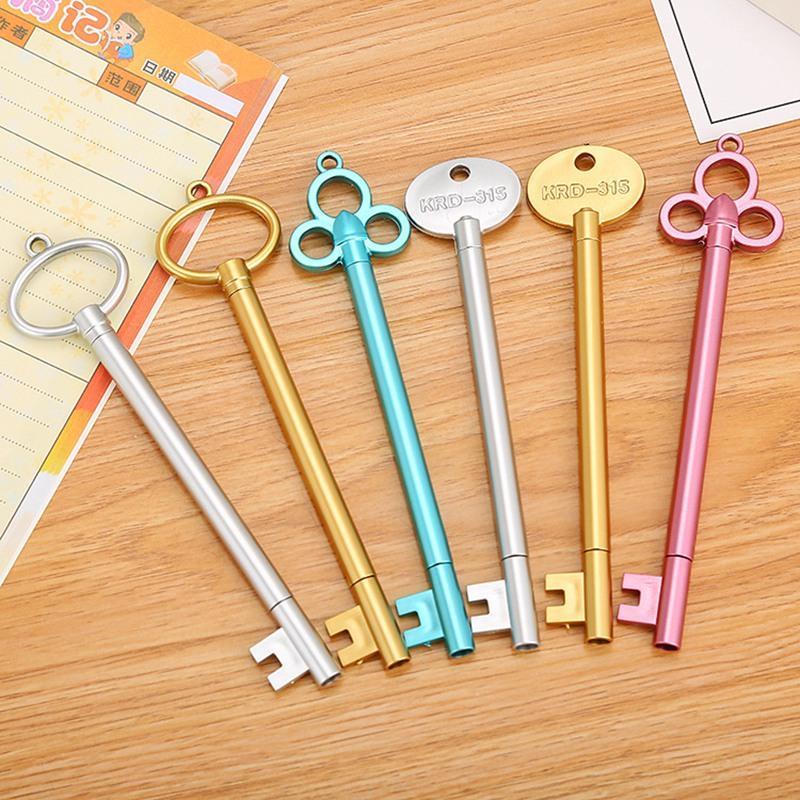 Creative Retro Key Shape Ink Gel Pen 0.5mm Stationery Pens Student Gift Black Signature Office Use Writing Tools 0317