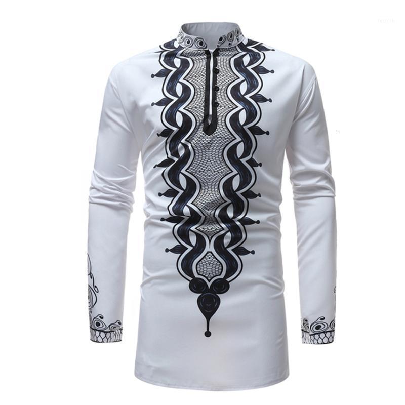 2019 인쇄 리치 Bazin 남자 아프리카 의류 패션 아프리카 드레스 화이트 긴팔 셔츠 캐주얼 맥시 남성 아프리카 dashiki dresses1