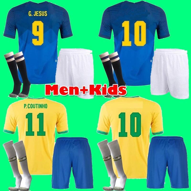 Brasil Neres Coutinho Soccer Jersey 2021 Camiseta de Futebol Brazils G.Jesus Firmino 21 22 Camicia da calcio Uomo + Kit Kit Kit Set Uniformi