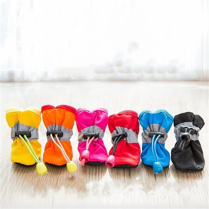 Dog Thick 4pcs/set Footwear Socks Waterproof Anti-slip Winter Warm Rain Boots Puppy Sneakers Protective Pet Shoes Supplies