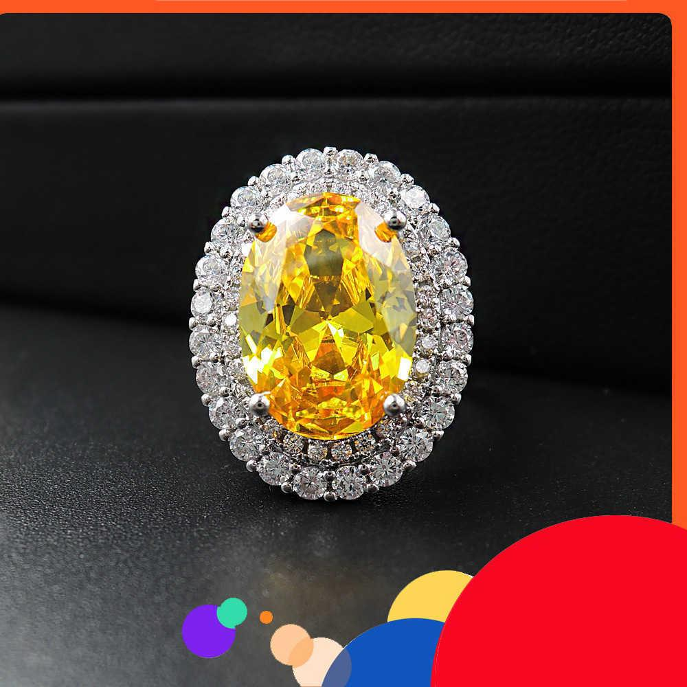 CAIBAO Style Colomba Dan imitazione giallo diamante anello per le donne