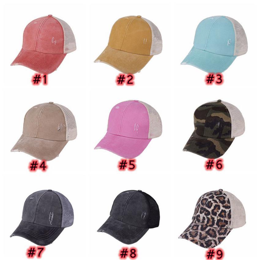 Leopar At Kuyruğu Şapkaları 9 Renkler Yıkanmış Örgü Camo Dağınık Bun Beyzbol Şapkası Açık Spor Trucker Şapka Cyz3153