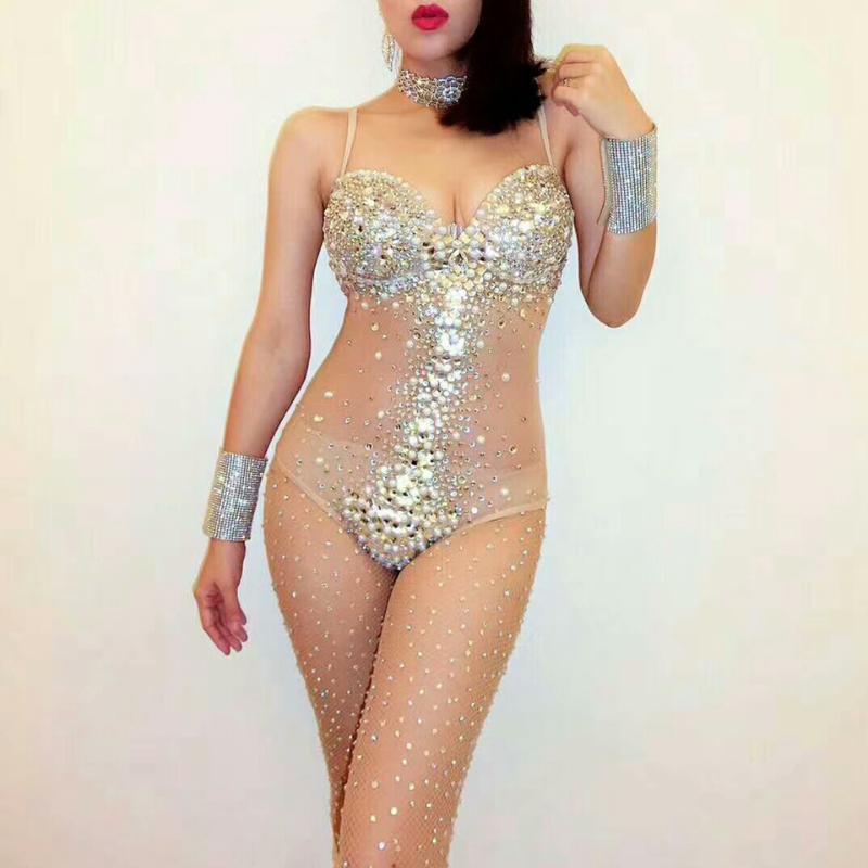 Sexy scollo a V Prospettiva a mesh Strisce Strisce Dinestone Body Donne Cantante Palcoscenico Performance Costume Luxurious Gemstones Perle Abito da abbigliamento