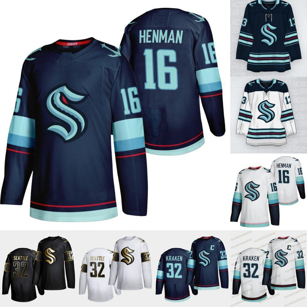 16 Luke Henman 2021 Seattle Kraken premier joueur Jersey 32ème Team Custom Custom Home Road Jersey 100% Stitchedany Nunber n'importe quel nom Hommes Femmes Jeunesse Hocker Jersey