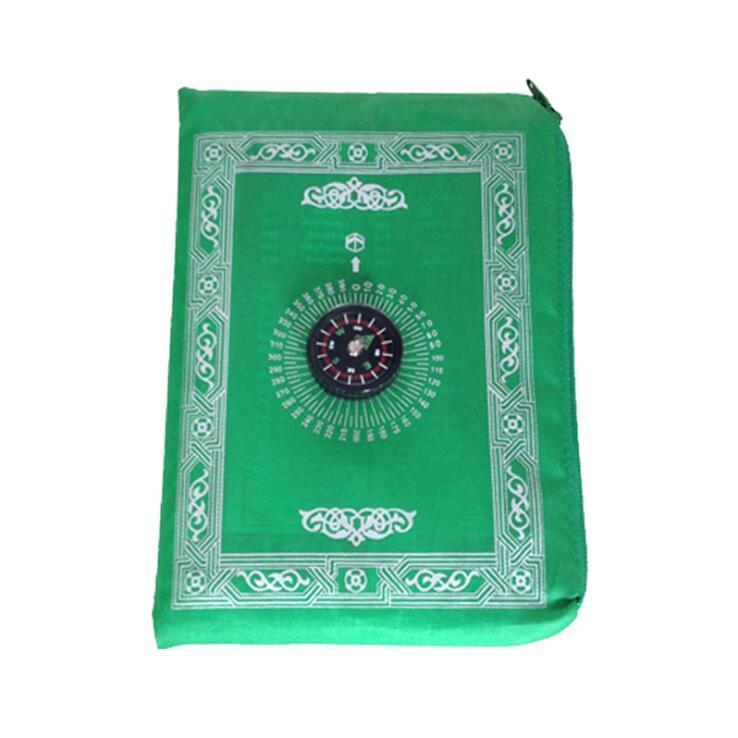 الصلاة الإسلامية البساط المحمولة مضفر حصيرة السجاد سستة البوصلة بطانيات جيب سجاد المسلم العبادة بطانية GGA4610