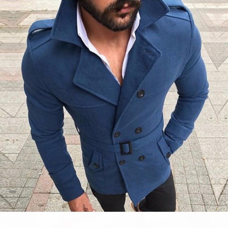 Dihope 2020 New Jacket Moda uomo Slim Fit Slip manica lunga Top Ventolatore Trench Coat Uomo Autunno Inverno Cappotto a bottone caldo