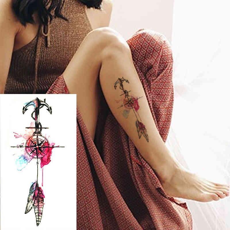 2017 Nouvelle ancrage et plumes Tatouages temporaires Tatouages temporaires Sexy Femmes Sexy Couleur Couleur Faux Tattoo Compas sur l'épaule