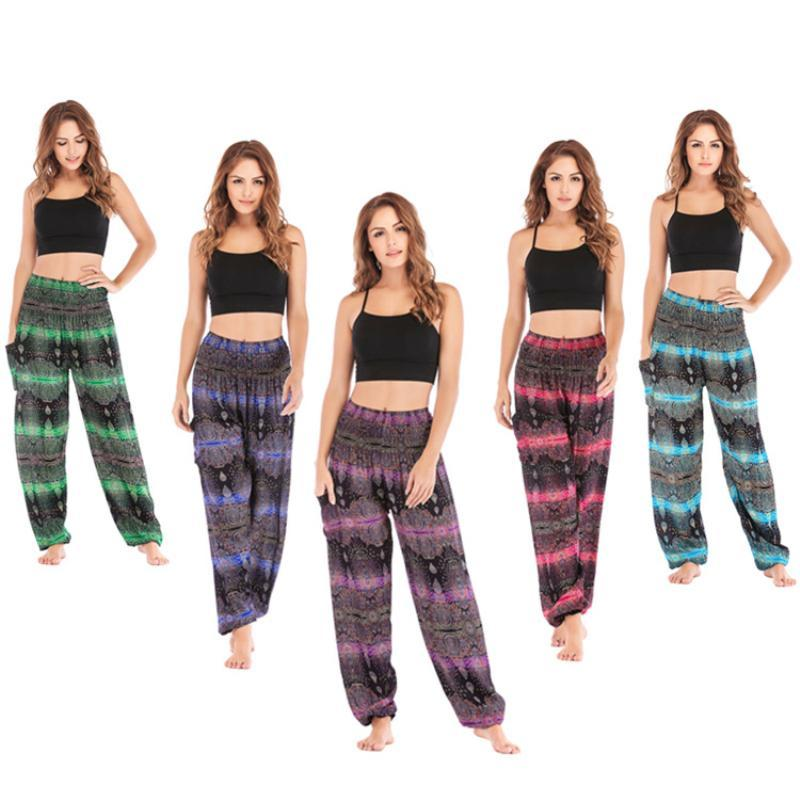 Women's Leggings Sweolso Women High Waist Pants Water Drop Vintage Pattern Loose Soft Thai Harem Indie Folk Boho Casual Cotton Trousers