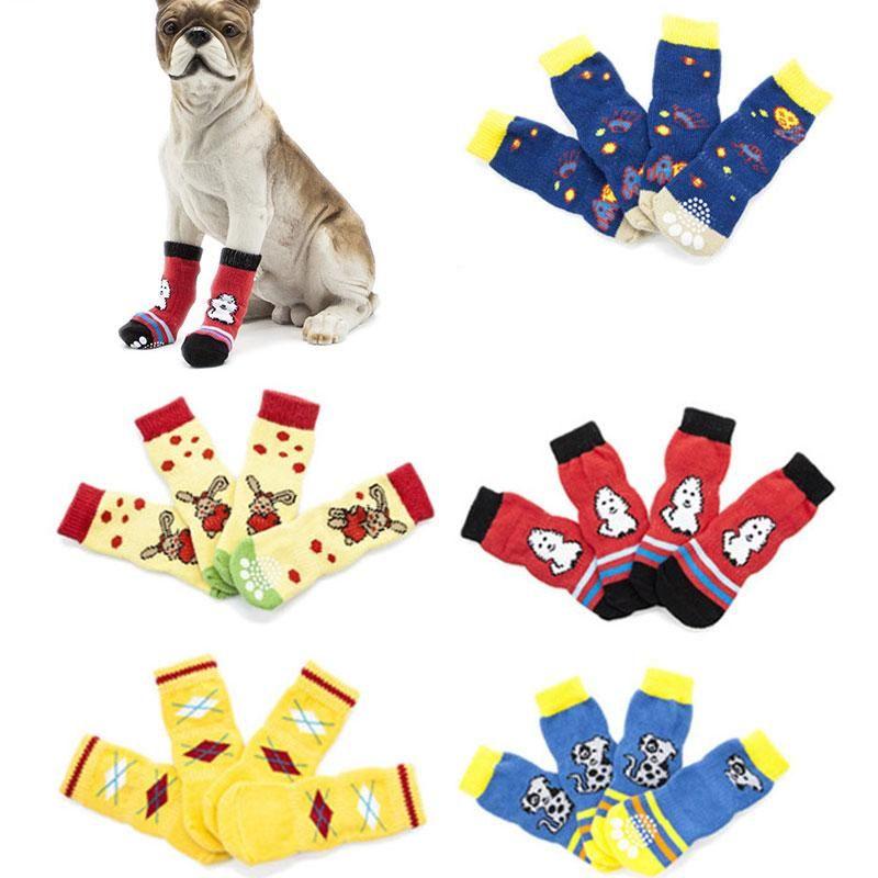 Hundebekleidung Safety Pet Socken Warme Niedliche Cartoon Anti Slip Socke Atmungsaktive Baumwollwelpen Strickvorräte