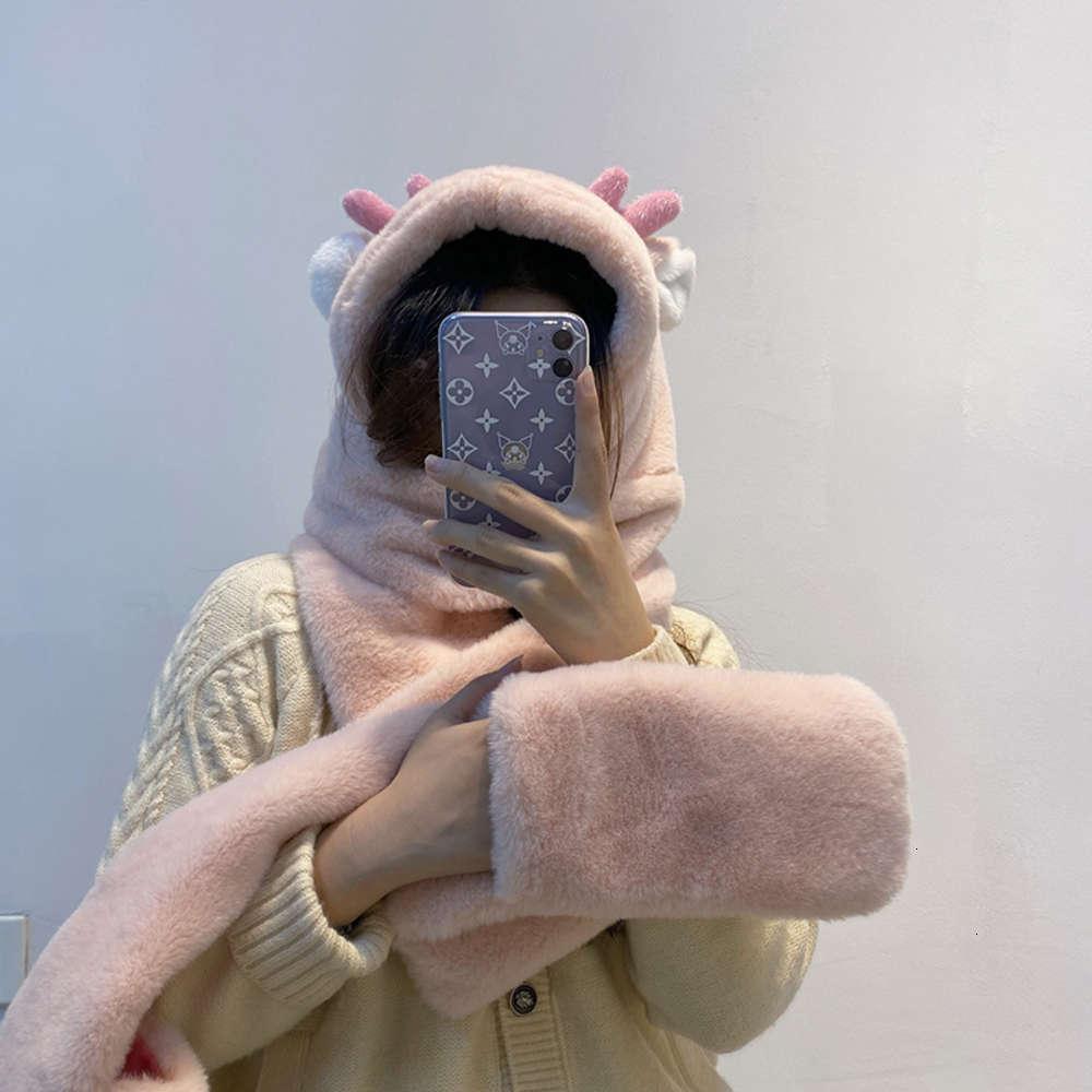 Acessórios de moda rosa bege pelúcia macia cute chifre chapéu lenço luva outono e inverno espessamento estendido estendido estendido