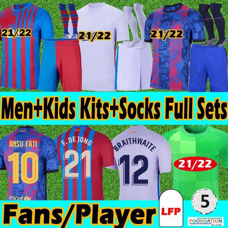 FC Barcelona Chaussettes pour adultes et enfants 20/21 fans+Version maillot de football 2021 Messi Griezmann Coutiniiho Ansu Fati Training Gardien de but Maillots de football
