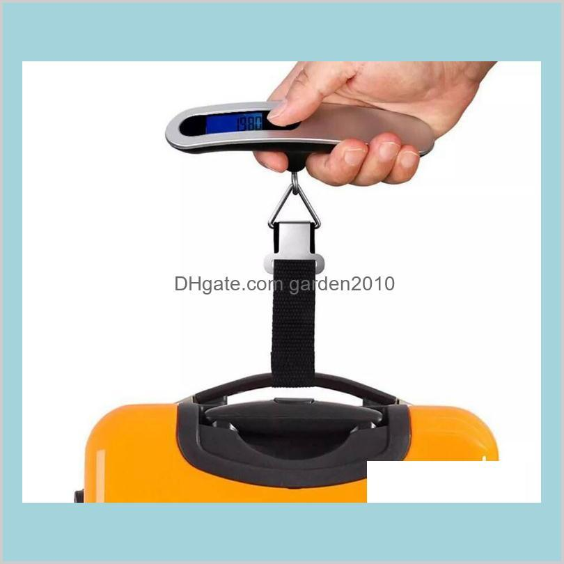 Household Scales Sundries Home & Garden Portable Travel 110Lb / 50Kg Lcd Digital Hanging Luggage Scale Weight Balance With Retail Box