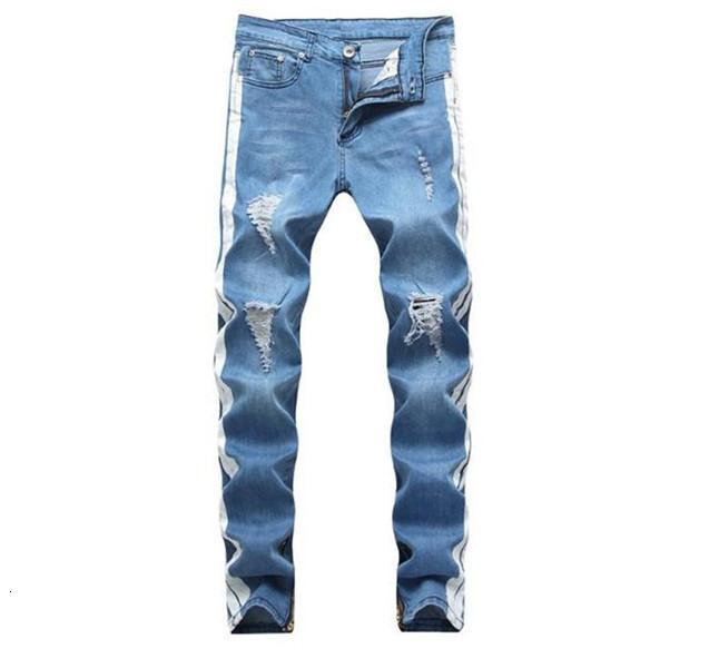 Erkek Kot Moda Sokak Tarzı Yıkanmış Yırtık Delik Kalem Uzun Pantolon Hommes Pantalones Erkekler için Tasarımcı Pantolon