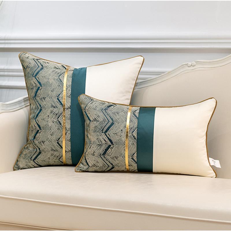 Современные лоскутные кожаные украшения домашнего украшения Thorw подушки для подушки геометрические полоса подушки подушки с подушкой для подушки кровотехника / декоративные