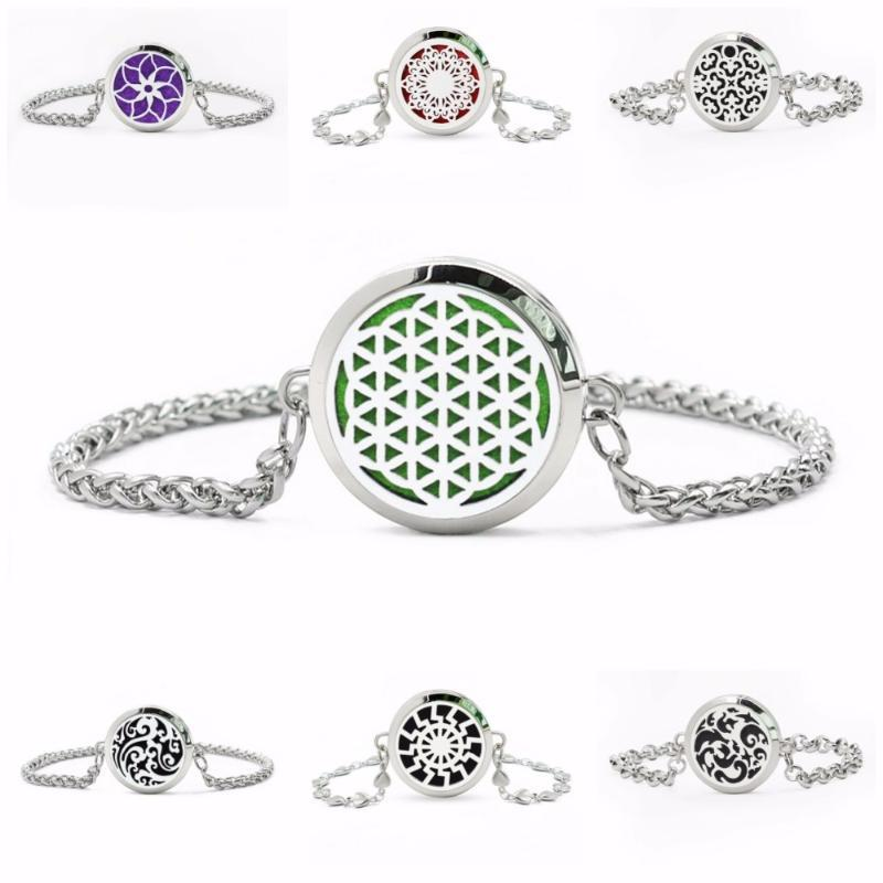 """Link, Chain """"Free 10pcs Pads"""" Flower Of Life Stainless Steel 30mm Locket Bracelet Diffuser Perfume"""