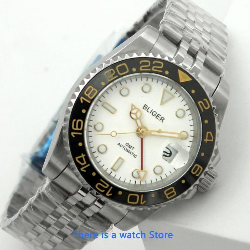 Bliger 40mm Otomatik Mekanik İzle Erkekler Iş Safir Kristal GMT Aydınlık Su Geçirmez Takvim Saati Saatı