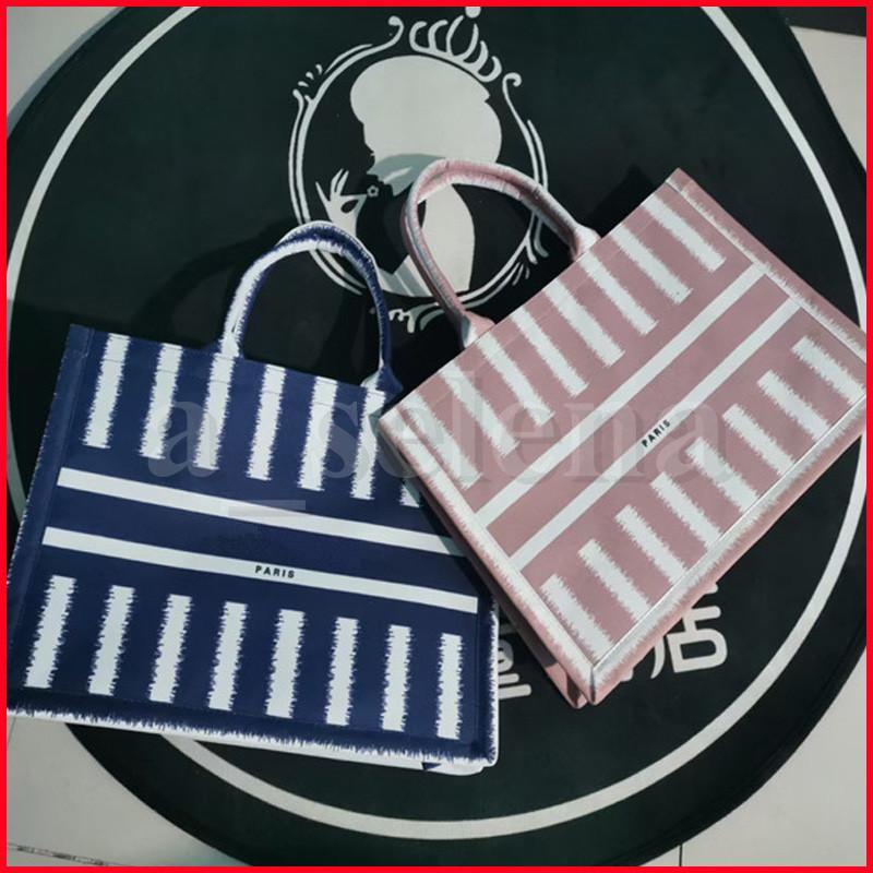 Donne trucco cosmetico Shopping Shopping Bags Borse Canvas Totes Stripe Color Ricamo Parigi stampata Design di abbinamento Grande capacità borsa casual