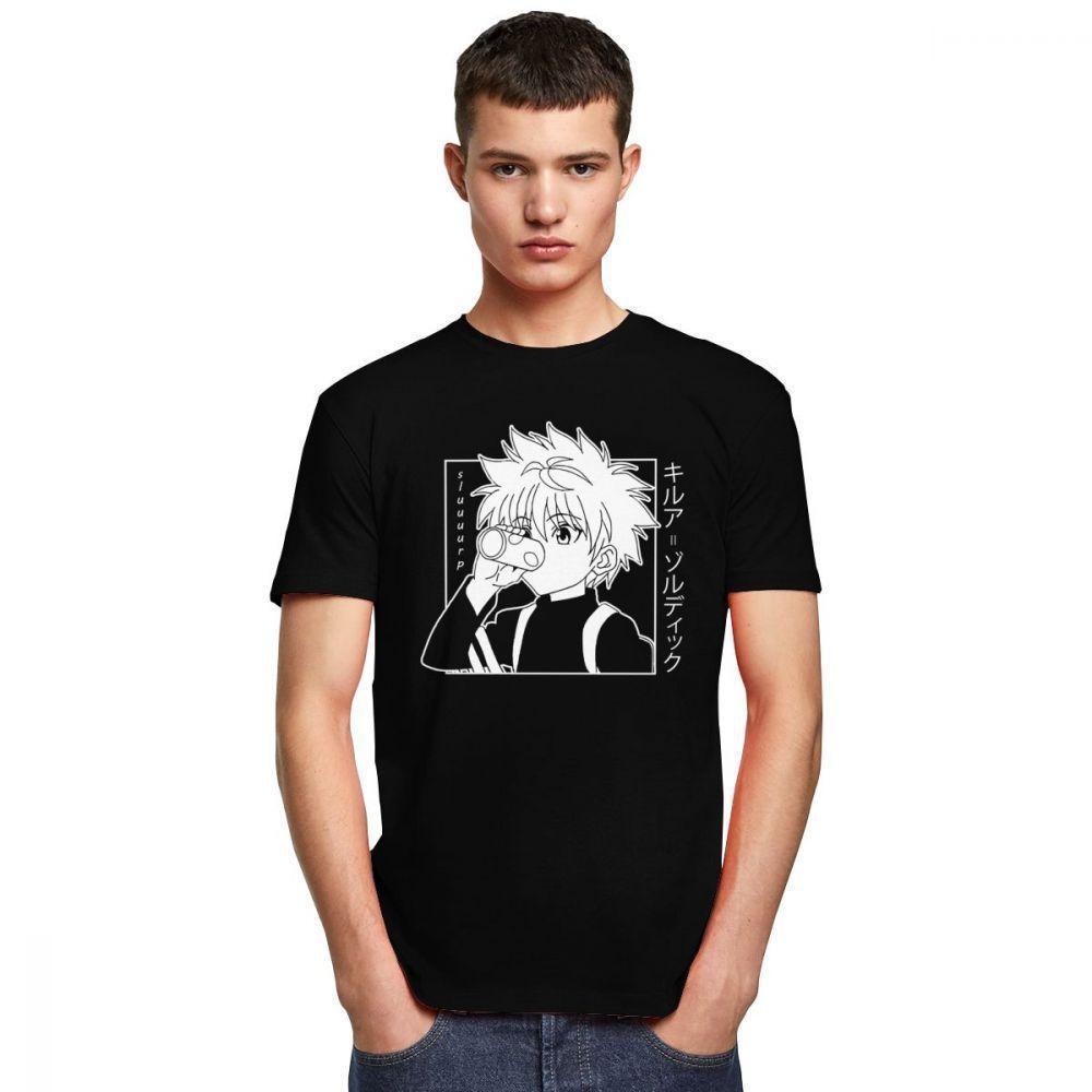 Hunter Herren Kurzarm Killua Zoldyck T-Shirt Rundhals Weiche Baumwolle Cartoon T-shirtm7sm