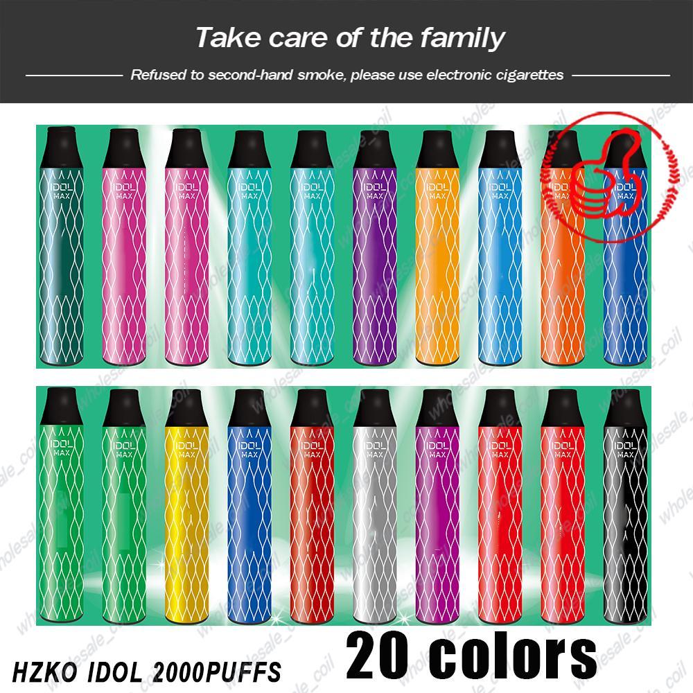 원래 Hzko Idol 최대 일회용 장치 키트 1000mAh 배터리 Vape 2000 퍼프 미리 채워진 6.5ml 포드 100 % 정통