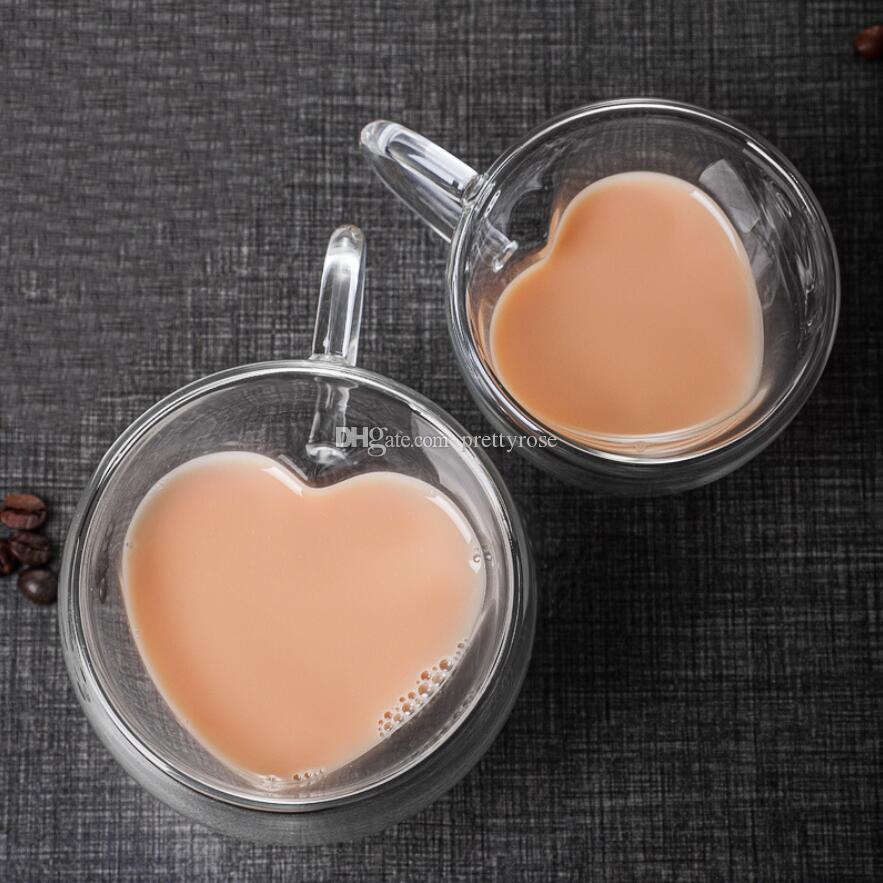 Tazas de té de vidrio transparente Copa de té de doble pared Taza de té Resistente al calor Resistencia al calor En forma de corazón con forma de corazón doble taza taza de café taza de café
